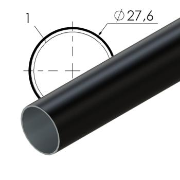 Zwart gecoate stalen buis, 27,6x1mm, L=4m