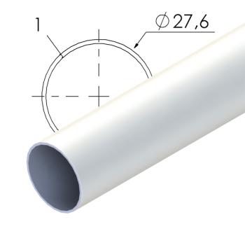 Wit gecoate stalen buis, 27,6x1mm, L=4m
