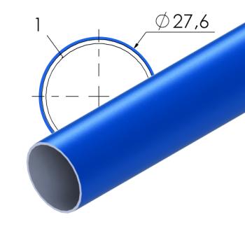 Blauw gecoate stalen buis, 27,6x1mm, L=4m