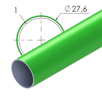 Groen gecoate stalen buis, 27,6x1mm, L=4m