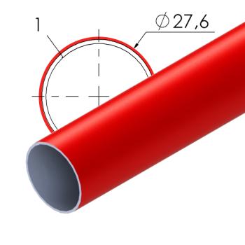 Rood gecoate stalen buis, 27,6x1mm, L=4m
