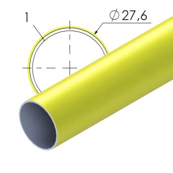 Geel gecoate stalen buis, 27,6x1mm, L=4m