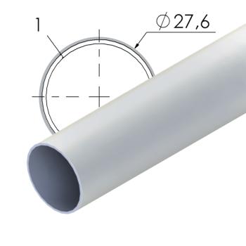 Grijs gecoate stalen buis, 27,6x1mm, L=4m