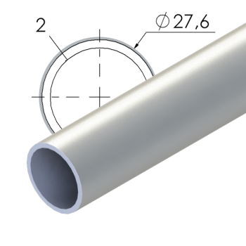Grijs gecoate stalen buis, 27,6x2mm, L=4m