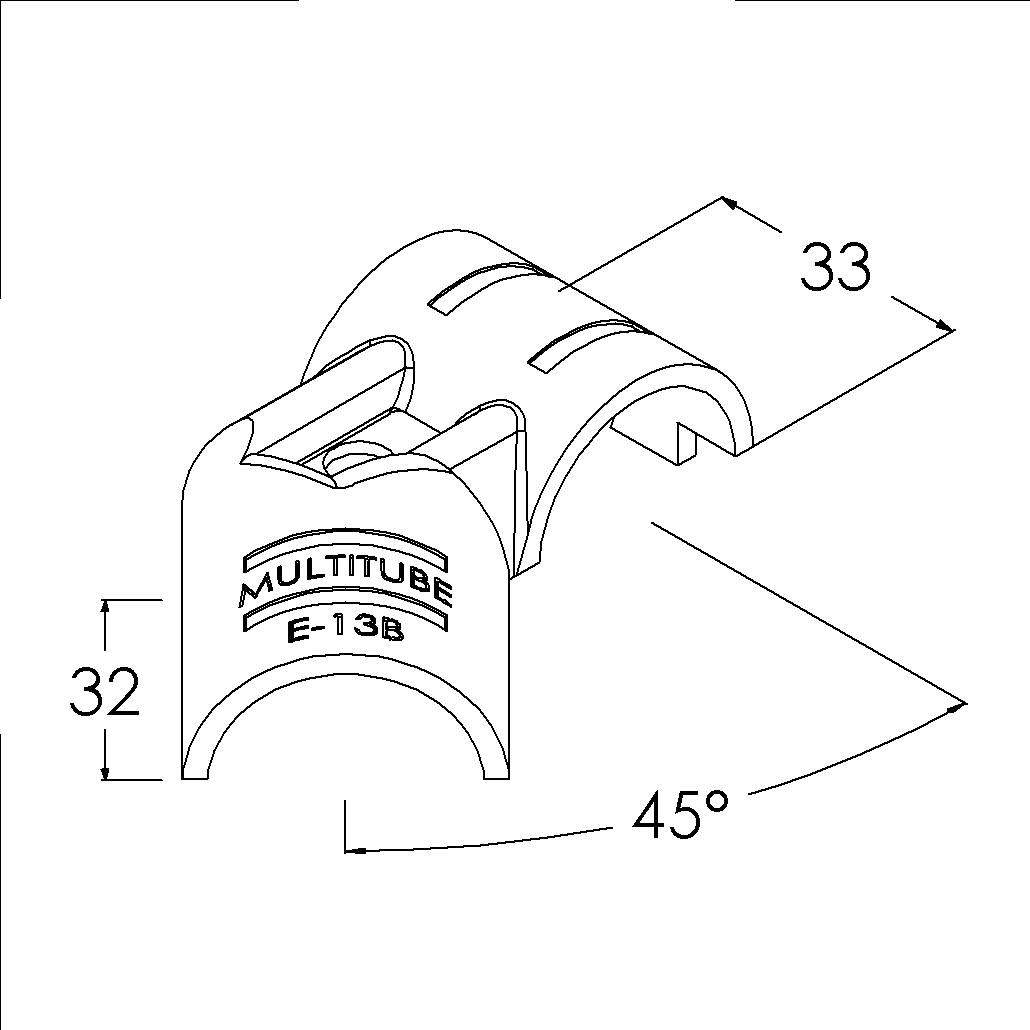 e13bbk buisverbinder hoekstuk 45