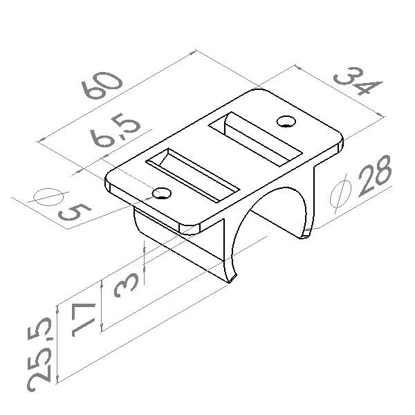 kb3 kunststof buisverbinder plaatmontage vlak dubbel