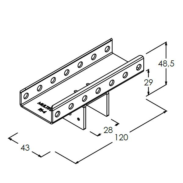ri4 rollenrail inhaakbeugel koppelstuk steun