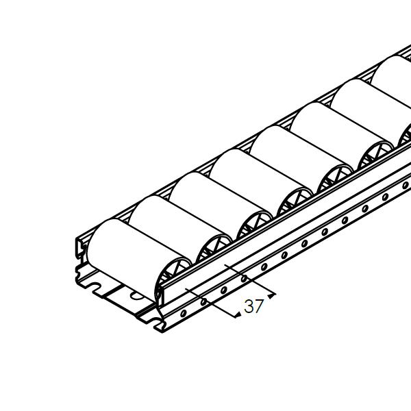 rollenrail vlak 80mm l4m