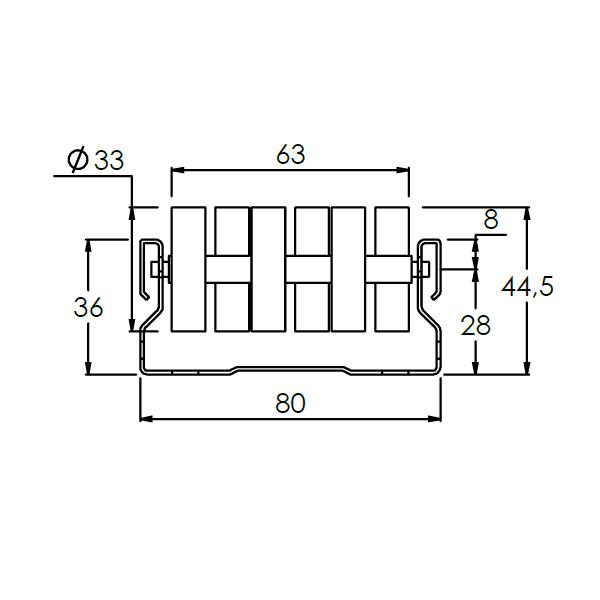 rollenrail versprongen vlak 80mm l4m