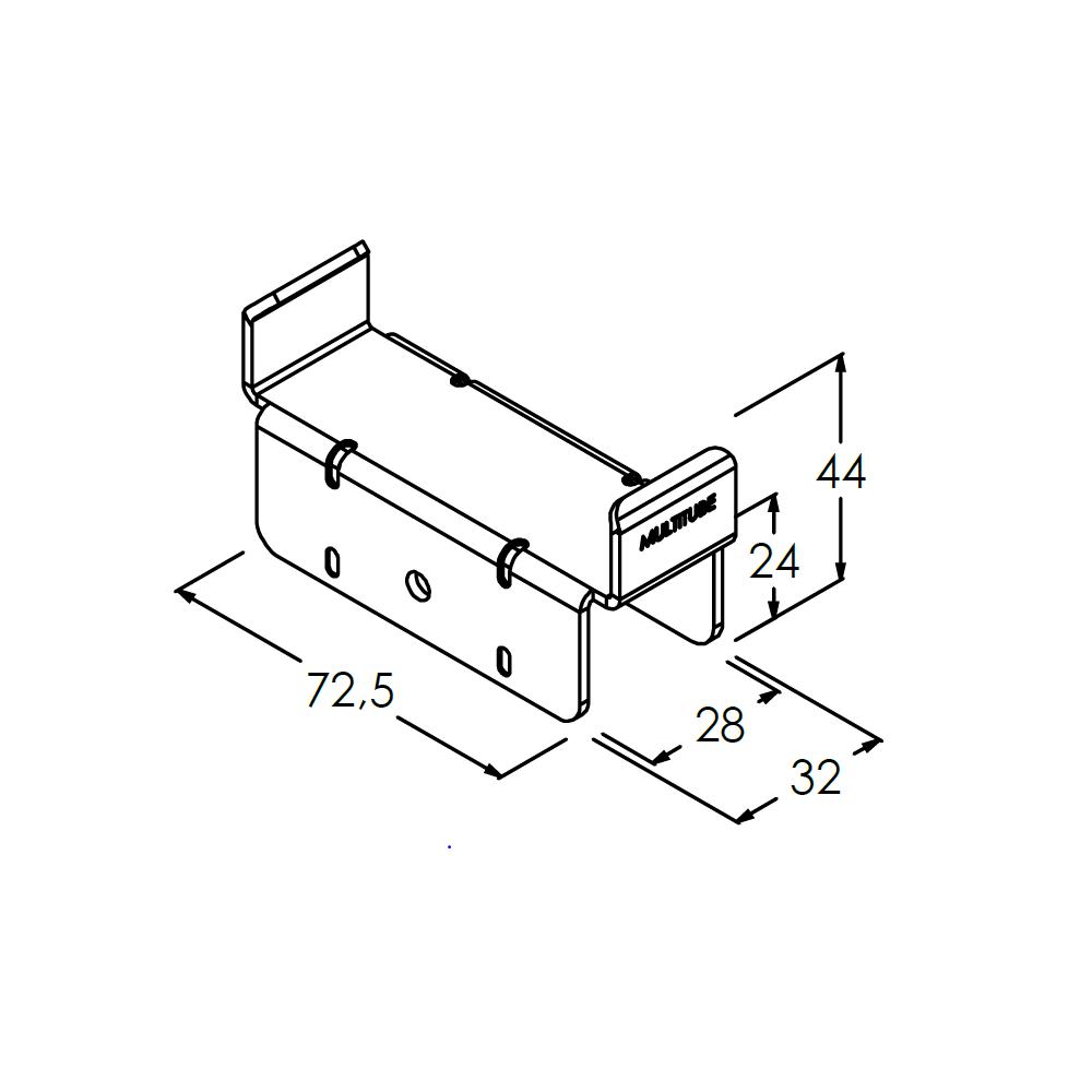 rollenrail inhaakbeugel steun 80mm
