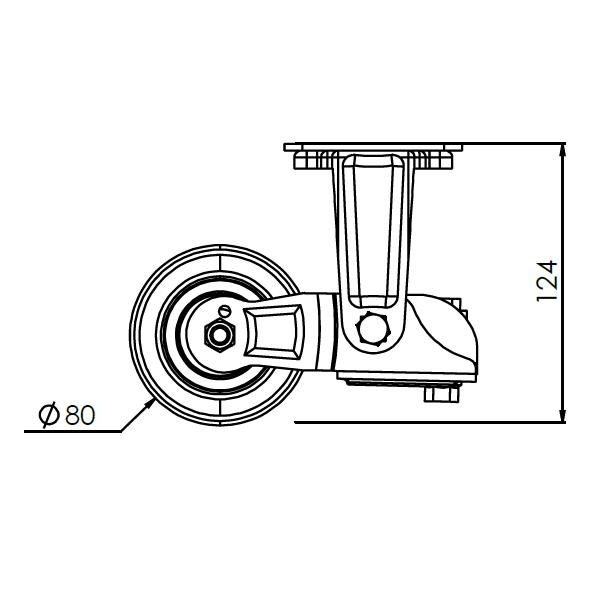 verend bokwiel met montageplaat 80mm epukk