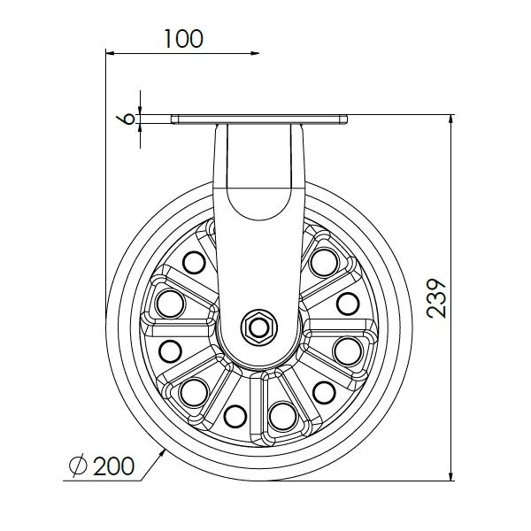 bokwiel met montageplaat 200mm pukk 400kg
