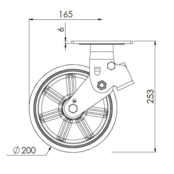 verend bokwiel met montageplaat 200mm pukk 450kg