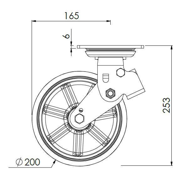 verend zwenkwiel met montageplaat 200mm pukk 450kg