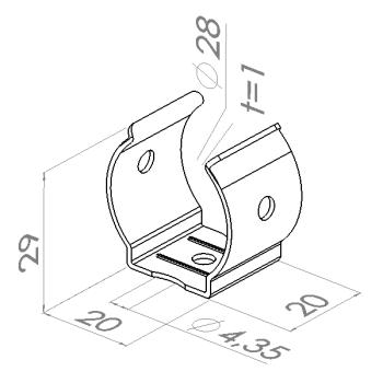 Buis montage clip, montagegat 4,5mm, RVS