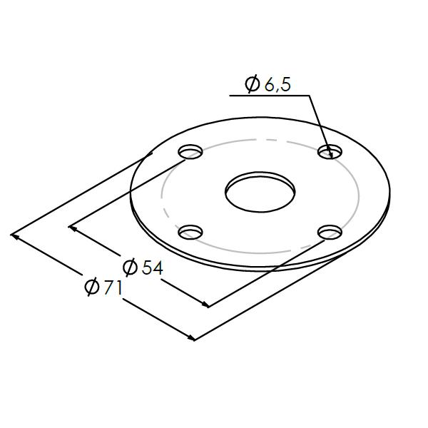 montageplaat andonlamp sendzimir 15mm