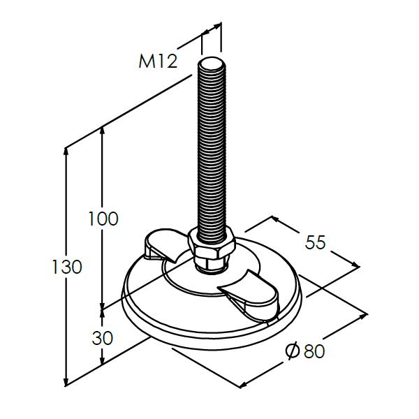 stelvoet m12 kogelgewricht l100mm 80mm antislip