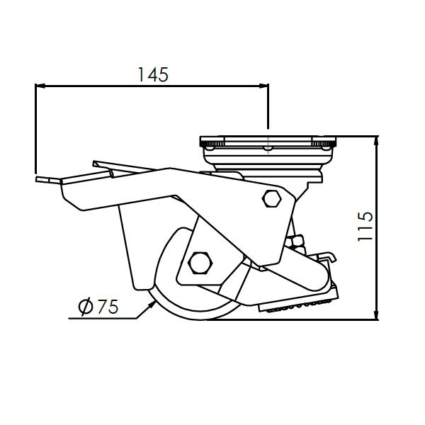 stelvoet met zwenkwiel met montageplaat 75mm pakk 300kg