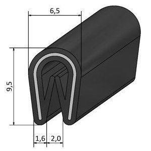 PB-8, randafwerkprofiel, klembereik 1-2mm, zwart