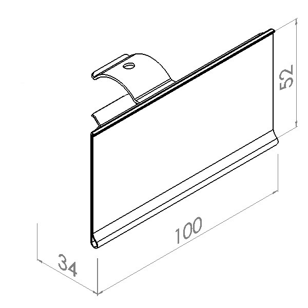 etikethouder voor dubbele buis l100mm h52mm