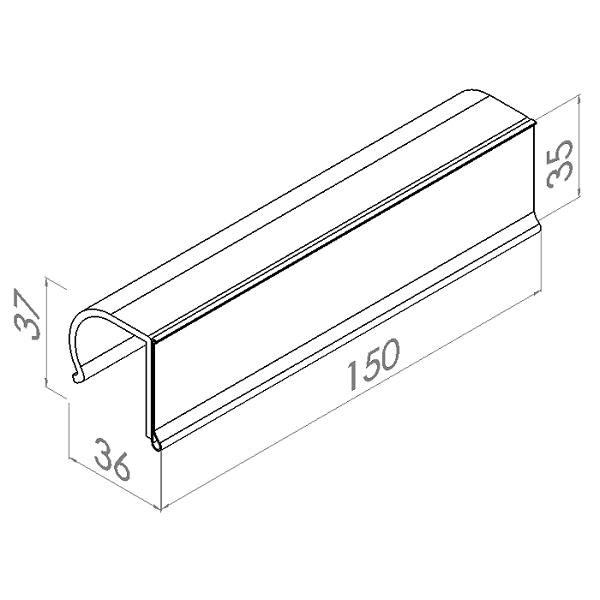 etikethouder l150mm h35mm kunststof