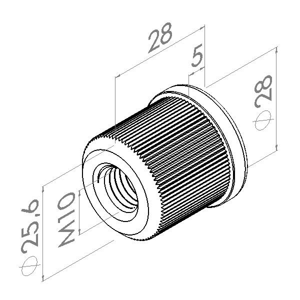 m10 inslagmoer 11mm rvs buis