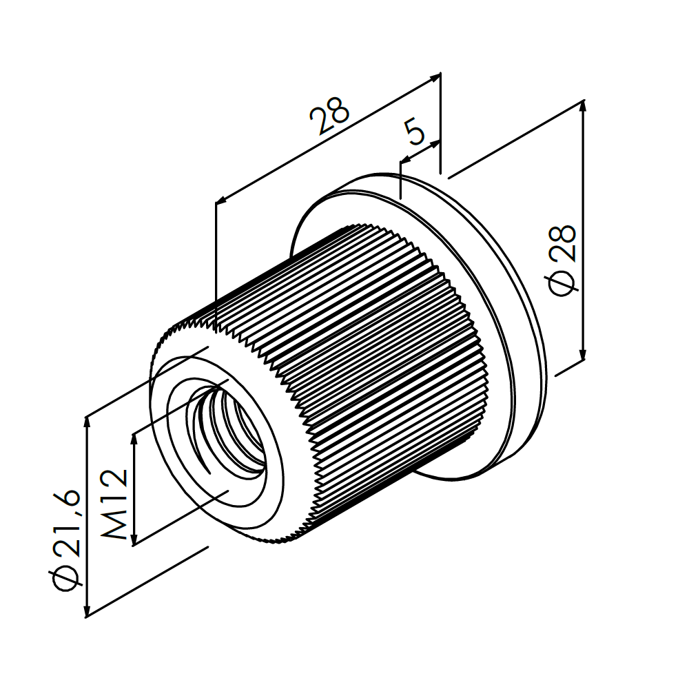 m10 inslagmoer 20mm buis