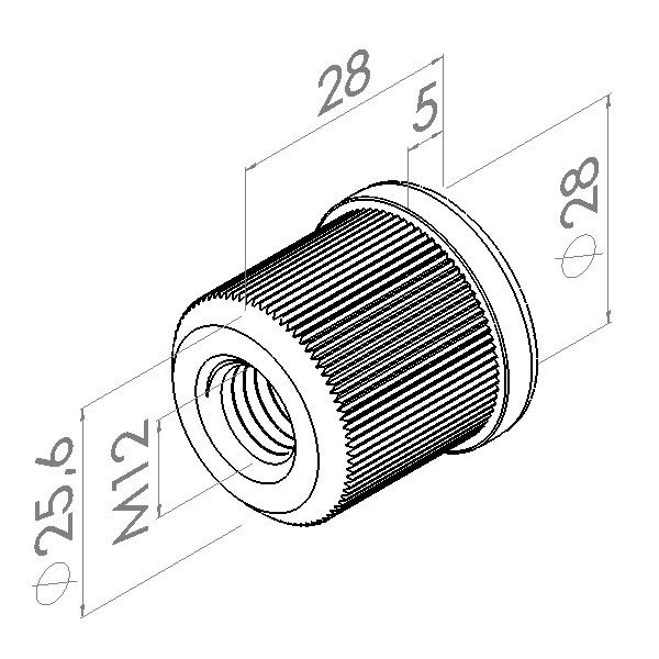 inslagmoer 11mm rvs buis stelvz m12