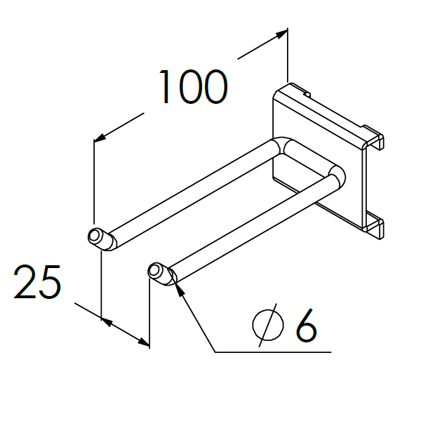 gereedschapshaak dubbel 100x25x6mm max 10kg