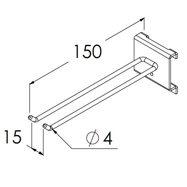 gereedschapshaak dubbel 150x15x4mm max 6kg
