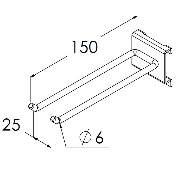 gereedschapshaak dubbel 150x25x6mm max 10kg