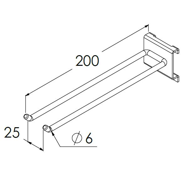 gereedschapshaak dubbel 200x25x6mm max 8kg