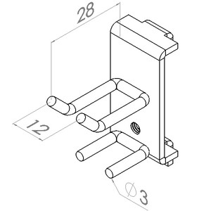 gereedschapshaak dubbel geleider 28x 9mm max 10kg