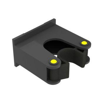 Steelklem voor wandstrip, zwart/geel, ø15-20mm
