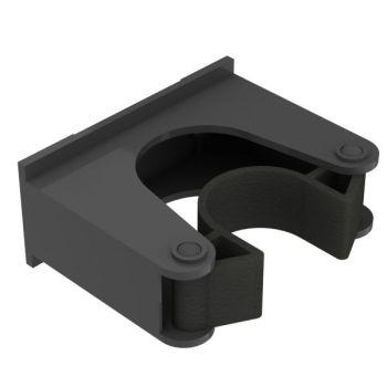 Steelklem voor wandstrip, zwart/zwart, ø30-40mm