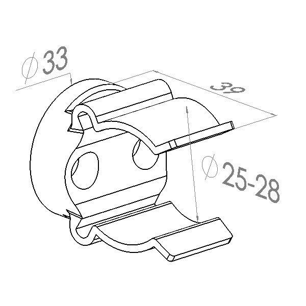 mickeyclips voor buisbevestigings zwart 2528mm