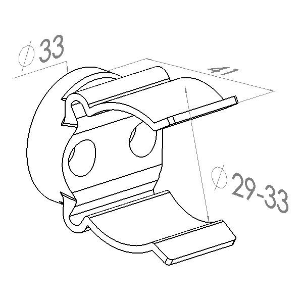 mickeyclips voor buisbevestigings zwart 2933mm