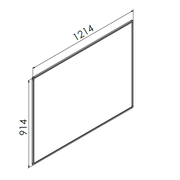 whiteboard enkelzijdig emaille staal 90x120 cm