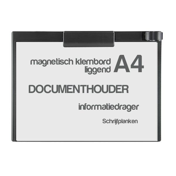 klembord magnetisch a4 liggend zwart