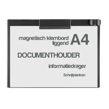 Klembord magnetisch A4, liggend, zwart