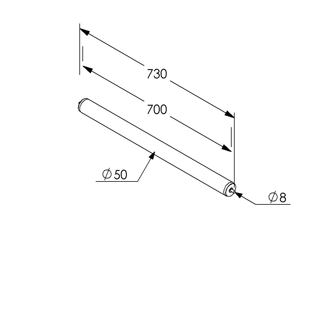 draagrol 700mm 50mm staal