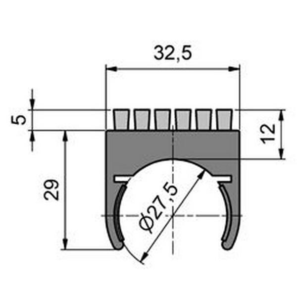 buisklem met borstel 6 rijen borstel diameter 02mm