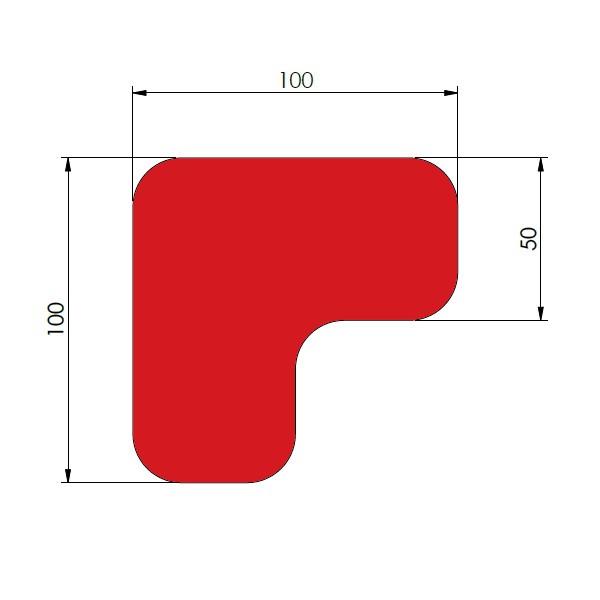 supreme v 90 afgeronde hoek rood 10cm x 10cm x 5cm aantalset75st
