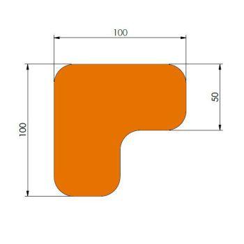 Supreme v, 90° afgeronde hoek, oranje, 10cm x 10cm x 5cm, ve=60st.