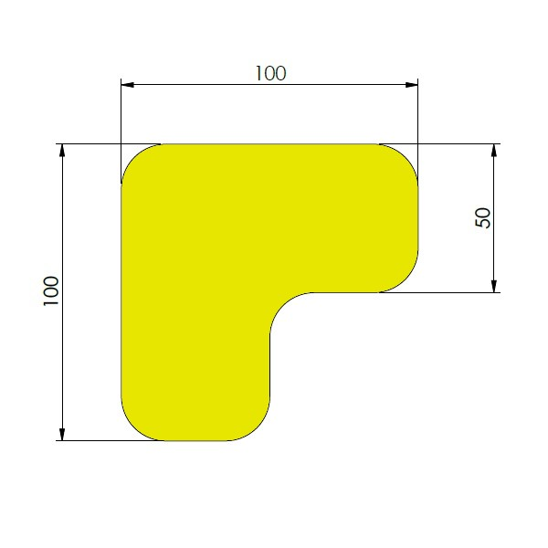 supreme v 90 afgeronde hoek geel 10cm x 10cm x 5cm aantalset75st
