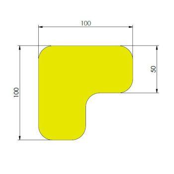 Supreme v, 90° afgeronde hoek, geel, 10cm x 10cm x 5cm, ve=75st.