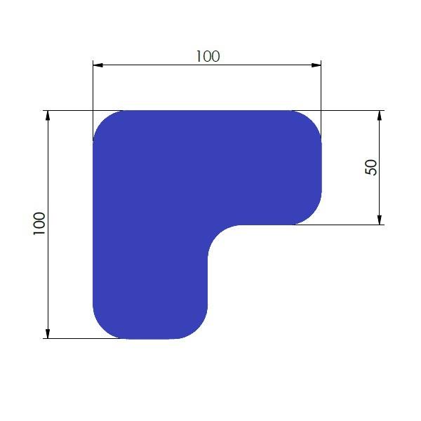 supreme v 90 afgeronde hoek blauw 10cm x 10cm x 5cm aantalset75st