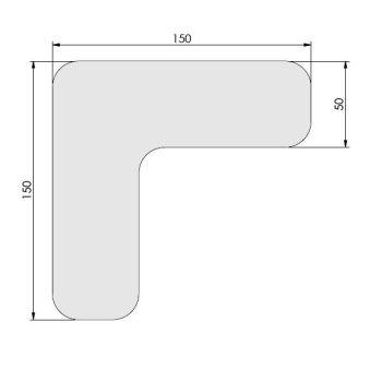 Supreme v, 90° afgeronde hoek, wit, 15cm x 15cm x 5cm, ve=50st.