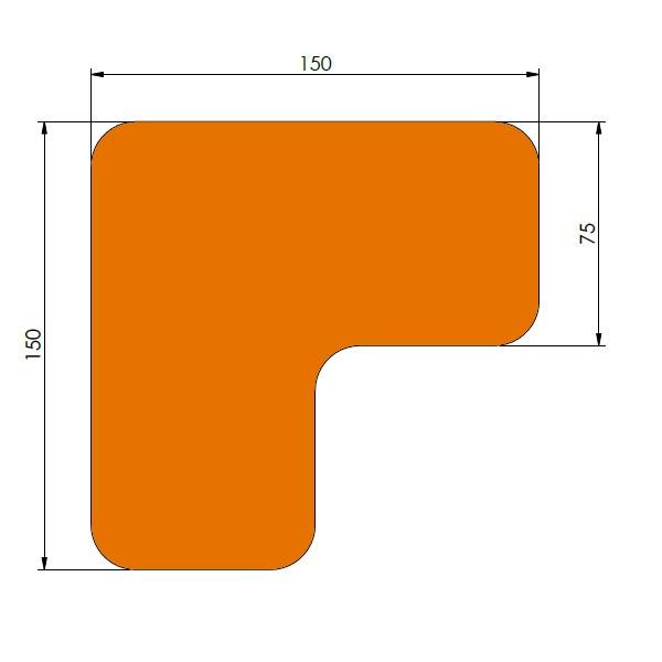 supreme v 90 afgeronde hoek oranje 15cm x 15cm x 75cm aantalset40st
