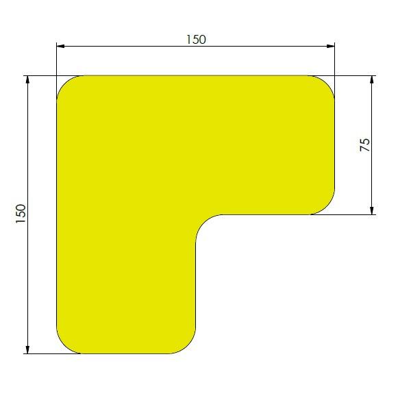 supreme v 90 afgeronde hoek geel 15cm x 15cm x 75cm aantalset40st